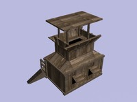 3d wooden tower model