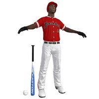 3d model baseball player ball