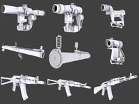 3d model pack weapons gears