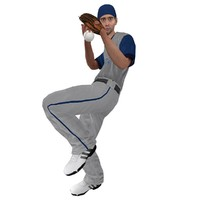 rigged baseball player 2 3d model