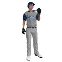 rigged baseball player ball 3d model