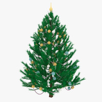 3d model decorated christmas tree spruce