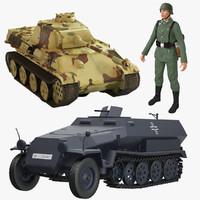 3dsmax wehrmacht soldier panzerkampfwagen