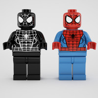 3d model lego spiderman black