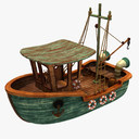 cartoon boat 3D models