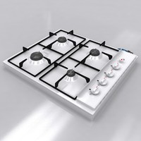 white cooktop 3d model