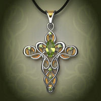 3d gold silver elven cross