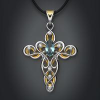 3d gold silver elven cross