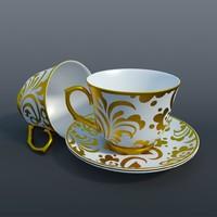 3d tea set 01 model