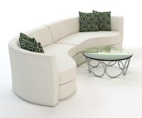 white curved sofa
