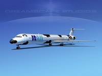 mcdonnell douglas md-80 airliners 3d model