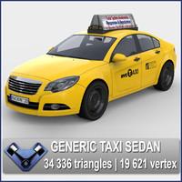 3d model generic usa taxi sedan