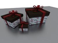 3d xmas christmas gift box model