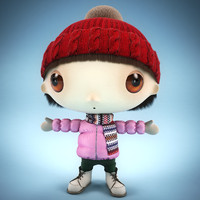 cartoon character little girl 3d max