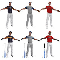 3d model baseball players ball