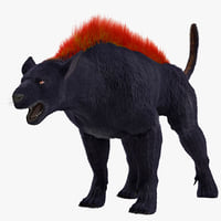 3d model hellhound fur rigged