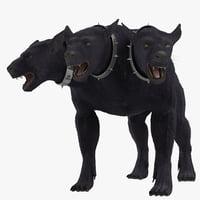 three-headed dog cerberus fur 3d max