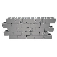 exploded brick wall 3d model