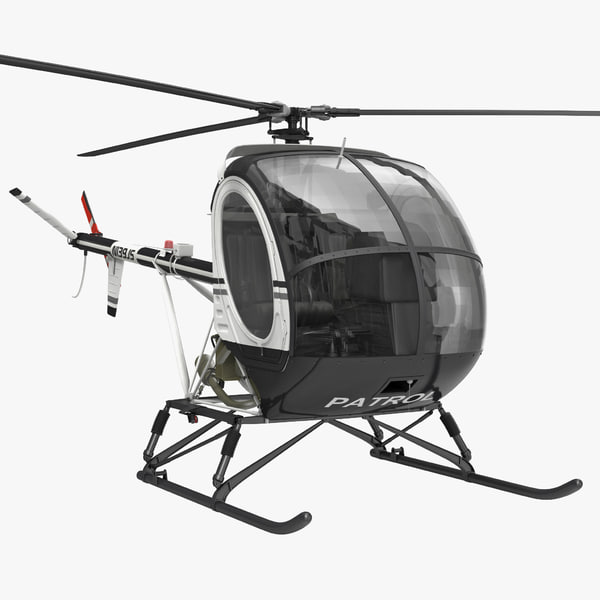 Helicopter Schweizer 300CBi hughes 269 us army united states training patrol police light chopper copter vray