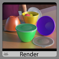 3d plastic tupperware model