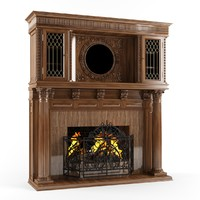 hq classic fireplace 3d max