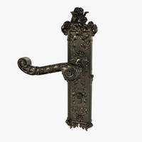 3d baroque door handle model
