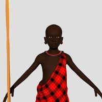 african boy masai 3d model