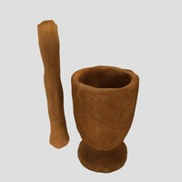 3d model african mortar pestle
