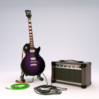 Electric Guitar with stand and amplifier