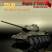 3d soviet tank t34-85 model