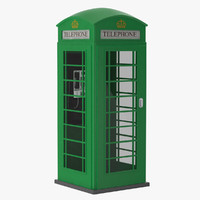3d model green telephone box
