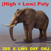 Elephant Textured (High-Poly + Low-Poly)