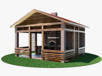 3d model backyard brick barbecue