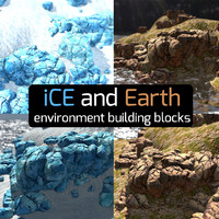SceneMaker Ice Glacier and Rock Cliffs Environment Kit Full Set