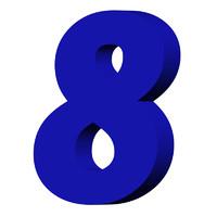 Blue number 8