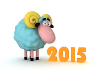 3d smiling cartoon sheep model