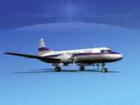 propellers convair 340 aircraft 3d model