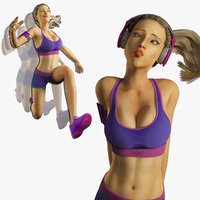 3d fitness rig muscle animation model