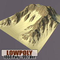 3d mountain games terrain model