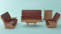 living room furniture package 3d model