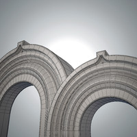 3d model white marble arch