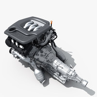 3d model car engine transmission
