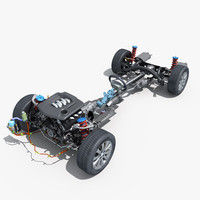 Car Chassis with Engine Steering System