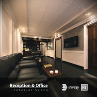 3ds max interior scene office reception