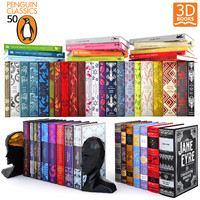 3d model 50 classic books penguin
