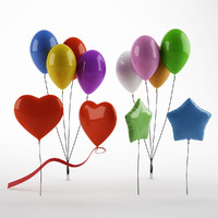 balloons heart star 3d model