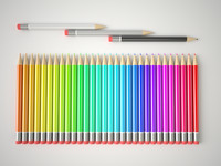 multicolor pencils set 3d model