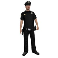 3d rigged police officer