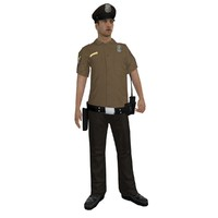 3d rigged police officer model