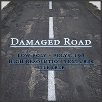 3d model damaged asphalt road